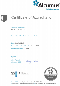 Plant Hire Certificate